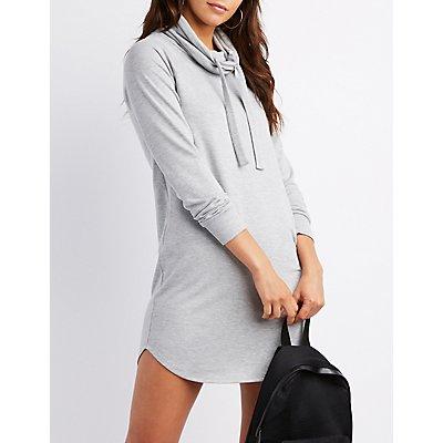 Drawstring Cowl Neck Sweatshirt Dress