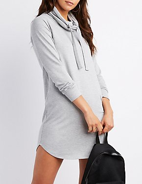 Drawstring Cowl Neck Sweatshirt Dress