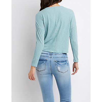 Ribbed Hacci Knit Crew Elastic Hem Top