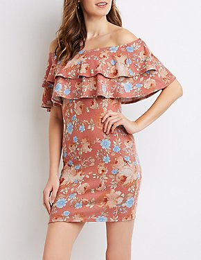 Floral Ruffle-Trim Off-The-Shoulder Bodycon Dress