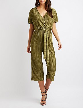 Surplice Ribbed Satin Jumpsuit