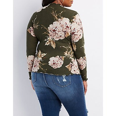 Plus Size Lettuce-Trim Mock Neck Top