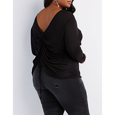 Plus Size Ruched V-Neck Top