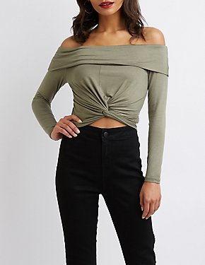 Off-The-Shoulder Twist Crop Top