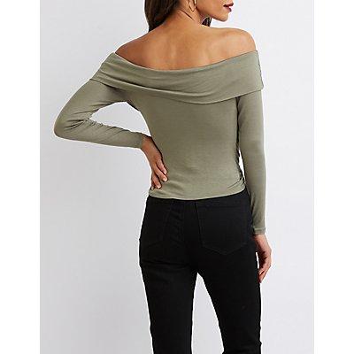 Off-The-Shoulder Twist-Front Cropped Top