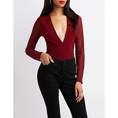 V-Neck Mesh-Sleeved Bodysuit