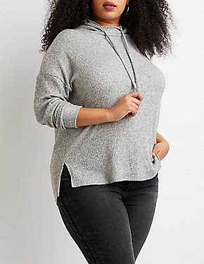 Plus Size Ribbed Knit Hoodie