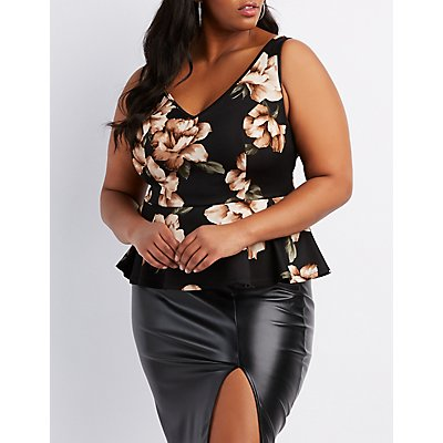Plus Size Floral V-Neck Peplum Top