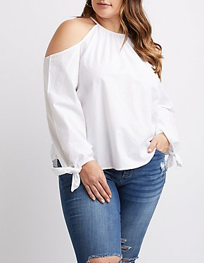 Plus Size Cold Shoulder Tie Top
