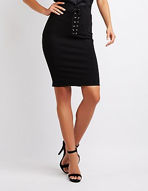 Ponte Knit Lace-Up Pencil Skirt