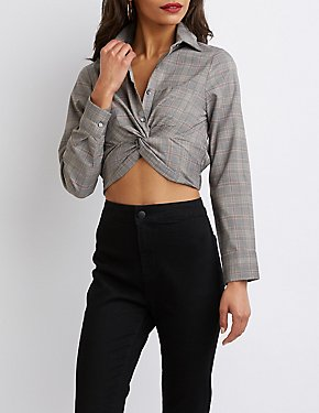 Plaid Knot Button Up Crop Top