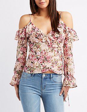 Floral Ruffle Cold Shoulder Top