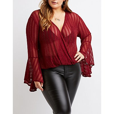 Plus Size Lurex Faux Wrap Top