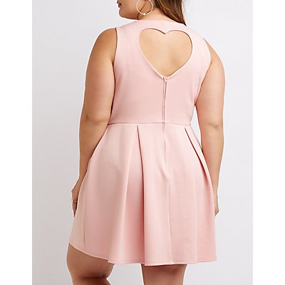 Plus Size Heart Cut-Out Skater Dress