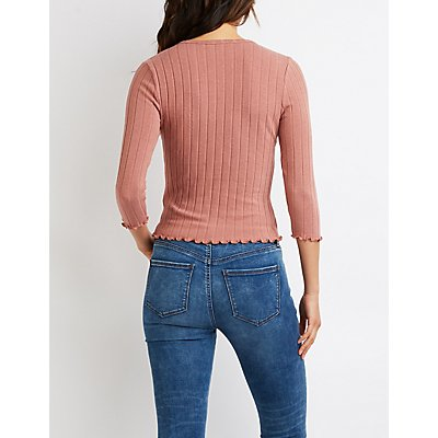 Lettuce-Trim Knit Crop Top