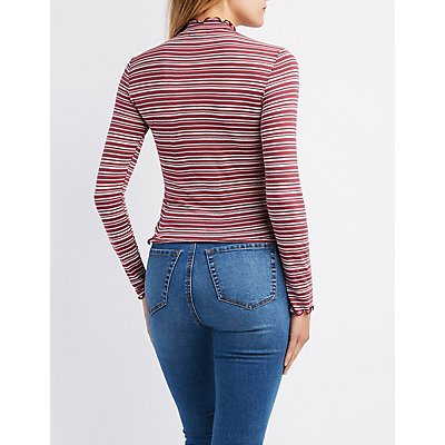 Lettuce-Trim Striped Top