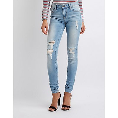 Cello Destroyed Mid Rise Skinny Jeans
