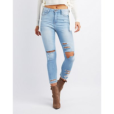 Cello Destroyed Hi-Rise Skinny Jeans