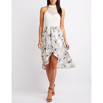 Floral Crochet Bib Neck High-Low Dress
