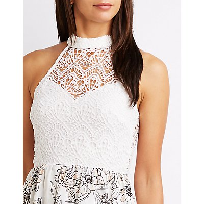 Floral Crochet Bib Neck High-Low Dress