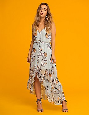 Floral Striped Hi-Low Maxi Dress