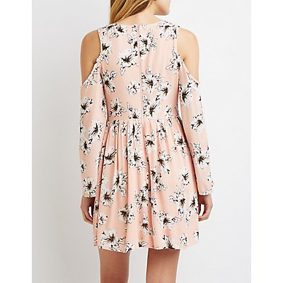 Floral Cold Shoulder Shift Dress