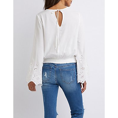 Surplice Wrap Bell Sleeve Top