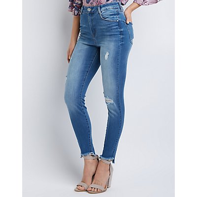Refuge Hi Rise Frayed Hem Legging Jeans