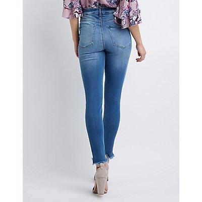 Refuge Hi-Rise Frayed Hem Legging Jeans