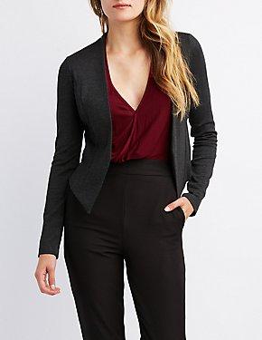 Collarless Open-Front Blazer