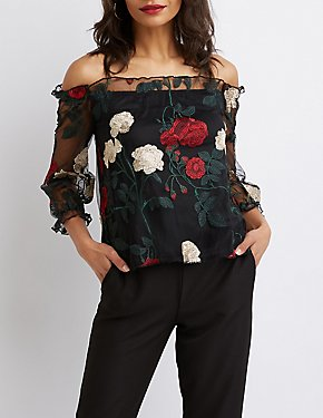 Floral Embroidery Off-The-Shoulder Top