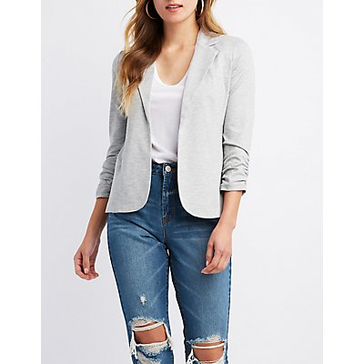Ruched-Detailed Open-Front Blazer