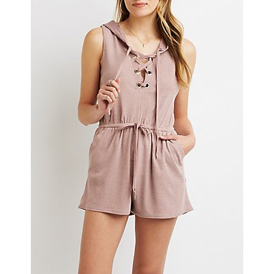 Lace-Up Hoodie Romper