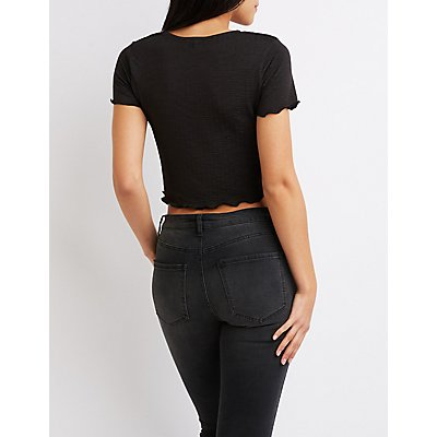 Ruched Lettuce-Trim Crop Top