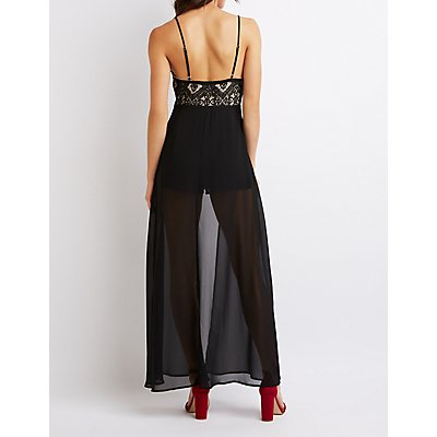 Lace Inset Layered Maxi Romper
