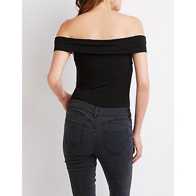 Off-The-Shoulder Mesh Inset Bodysuit