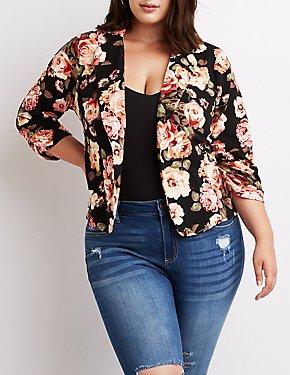 Plus Size Floral Open Front Blazer