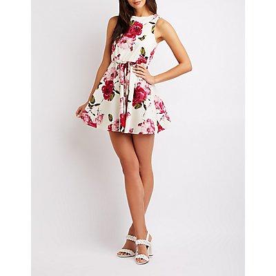 Floral Belted Skater Dress