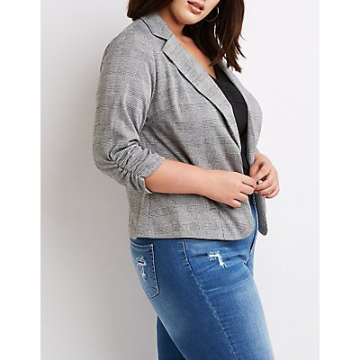 Plus Size Ruched Detailed Open-Front Blazer