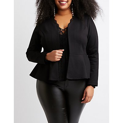 Plus Size Collarless Peplum Blazer