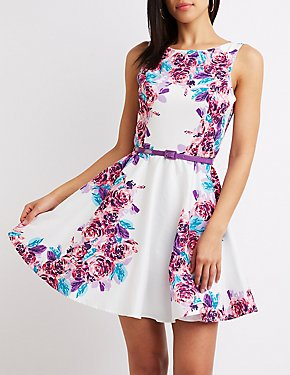 Floral Belted Skater Dress