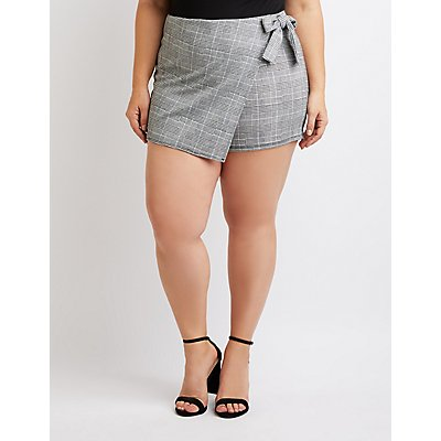 Plus Size Plaid Front-Tie Skort