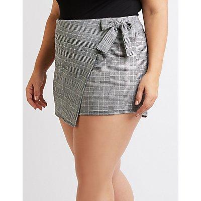 Plus Size Plaid Front-Tie Skort