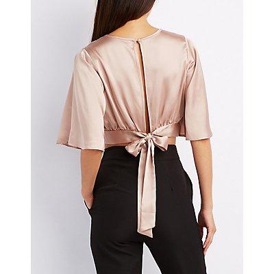 Satin Kimono Sleeve Crop Top