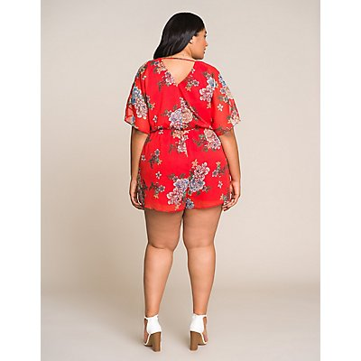 Plus Size Floral Wrapped Romper