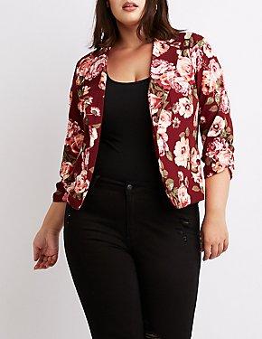 Plus Size Floral Open-Front Blazer