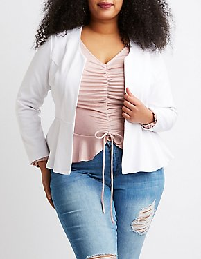 Plus Size Collarless Peplum Open-Front Blazer