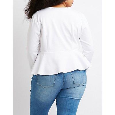Plus Size Collarless Peplum Open-Front Blazer