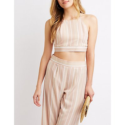 Striped Tie-Back Crop Top