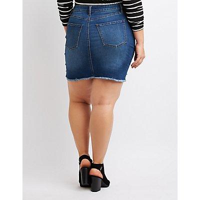 Plus Size Refuge Destroyed Denim Mini Skirt